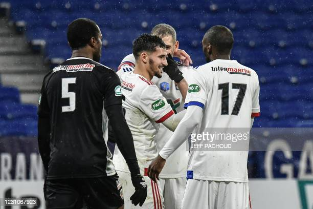 Lyon's French midfielder Houssem Aouar celebrates after scoring a goal during the French Cup football match, Olympique Lyonnais and AC Ajaccio on...