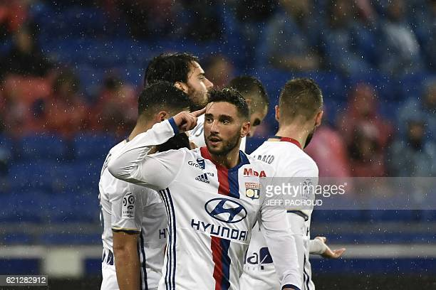 Lyon's French midfielder Jordan Ferri reacts after Bastia's Swedish midfielder Pierre Bengtsson scored an own goal during the French L1 football...