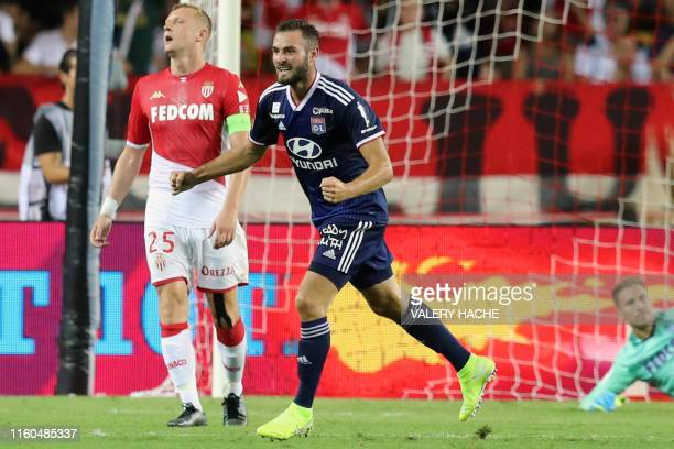 Lyon's French midfielder Lucas Tousart celebrates after scoring the 0-3 goal during the French L1 football match between AS Monaco and Olympique...