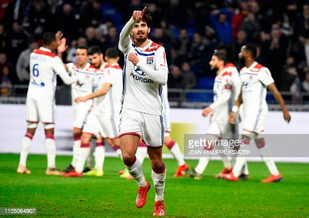 Lyon's French midfielder Martin Terrier celebrates after scoring a goal during the French L1 football match between Lyon and Guingamp on February 15...
