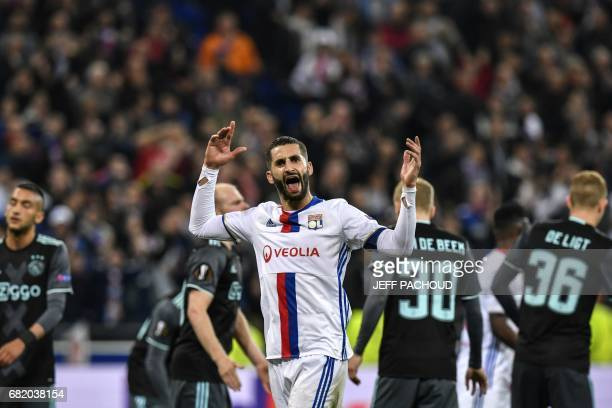 Lyon's French midfielder Maxime Gonalons reacts during the Europa League semi final football match Olympique Lyonnais vs Ajax Amsterdam on May 11 at...