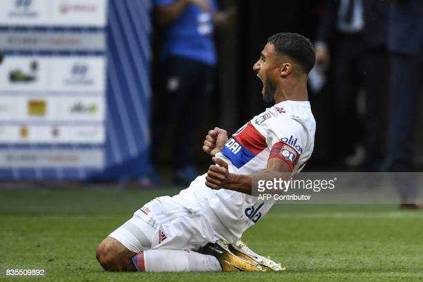 Lyon's French midfielder Nabil Fekir celebrates after scoring a goal during the L1 football match Olympique Lyonnais vs FC Girondins de Bordeaux on...