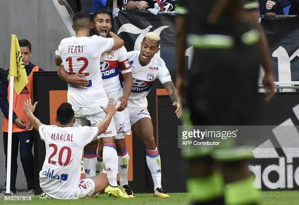 Lyon's French midfielder Nabil Fekir celebrates after scoring a goal during the French L1 football match Lyon vs Guingamp , on September 10, 2017 at...