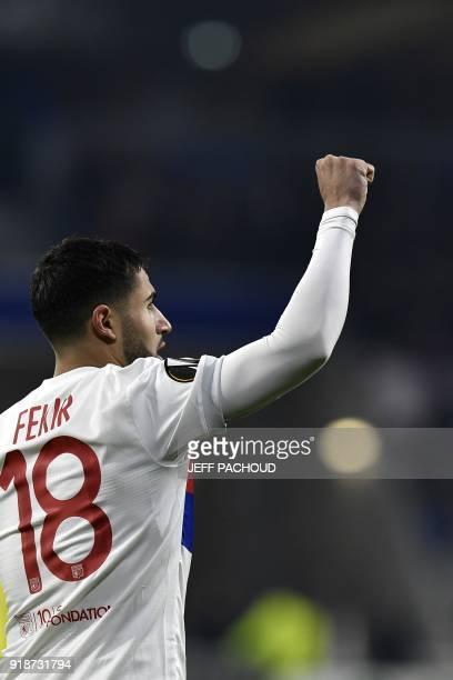 Lyon's French midfielder Nabil Fekir celebrates after scoring a goal during the UEFA Europa League football match between Olympique Lyonnais and...