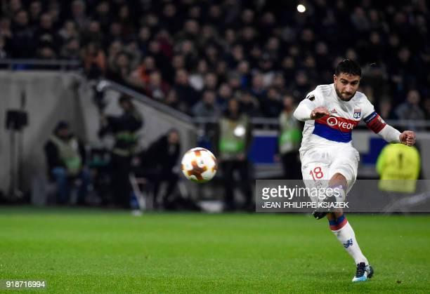 Lyon's French midfielder Nabil Fekir kicks the ball during the Europa League football match Olympique Lyonnais vs Villarreal CF on February 15 at the...