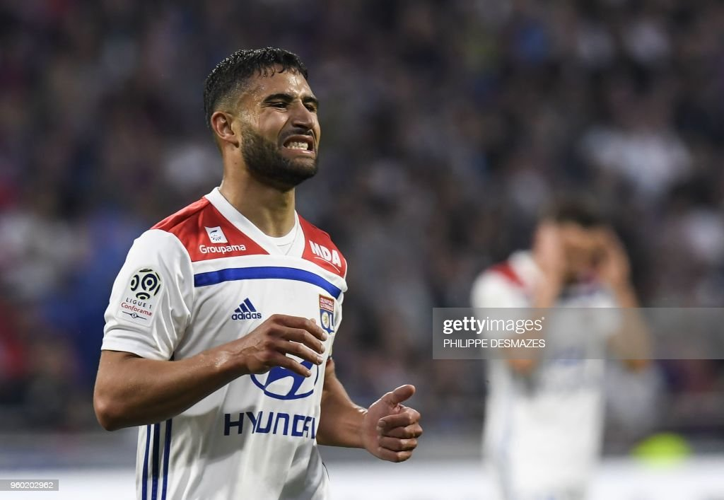 Lyon's French midfielder Nabil Fekir reacts after missing a goal during the French L1 football match between Olympique Lyonnais and OGC Nice, on May 19, 2018, at the Groupama Stadium in Decines-Charpieu near Lyon, central-eastern France.