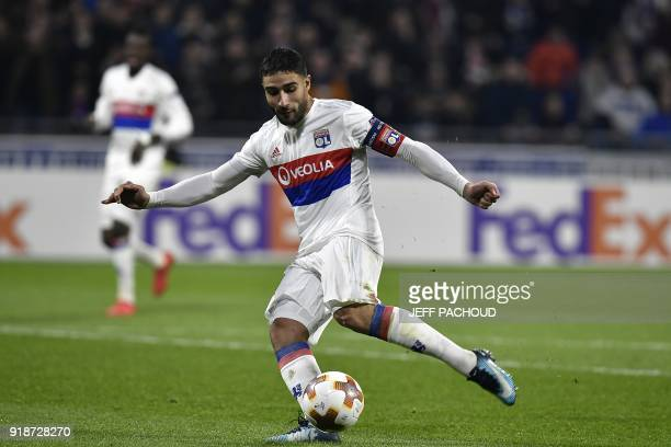 Lyon's French midfielder Nabil Fekir scores a goal during the UEFA Europa League football match between Olympique Lyonnais and Villarreal CF on...
