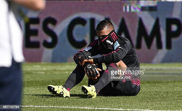Lyon's French Portuguese goalkeeper Anthony Lopes reacts at the end of the French Trophy of Champions football match against ParisSaintGermain vs...