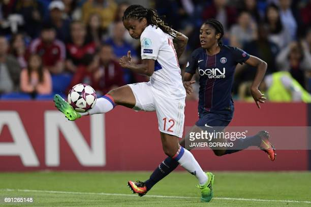 Lyon's French striker Elodie Thomis vies with Paris SaintGermain's Canadian midfielder Ashley Lawrence during the UEFA Women's Champions League final...