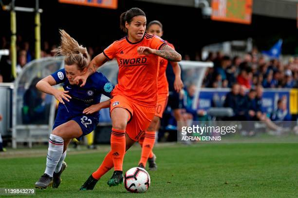 Lyon's German midfielder Dzsenifer Marozsan vies with Chelsea's Scottish striker Erin Cuthbert during the UEFA Women's Champions League semifinal 2nd...