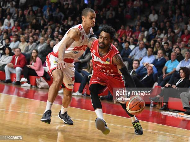 Lyons Mark Steven Victoria Libertas Pesaro in action during the Italy Lega Basket of Serie A , Openjobmetis Varese - Victoria Libertas Pesaro on 28...