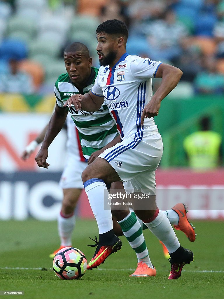 Lyon's midfielder Nabil Fekir in action during the Pre Season Friendly match between Sporting CP and Lyon at Estadio Jose Alvalade on July 23, 2016 in Lisbon, Portugal.