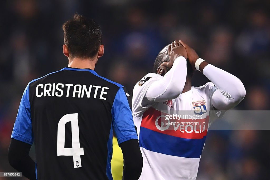 Lyon's midfielder Tanguy Ndombele reacts during the UEFA Europa ...