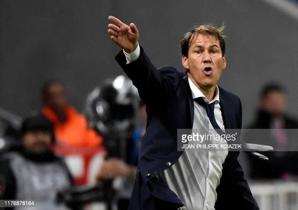Lyon's new coach Rudi Garcia reacts during the French L1 football match between Lyon and Dijon on October 19 2019 at the Groupama stadium in...