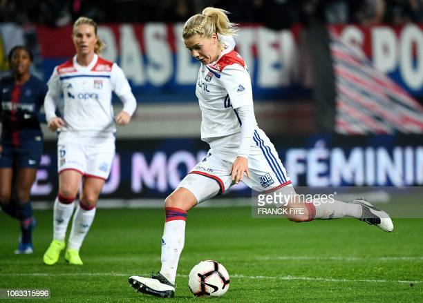 Lyon's Norwegian forward Ada Hegerberg kicks the ball during the French Women's D1 football match between Paris SaintGermain and Lyon at the Jean...