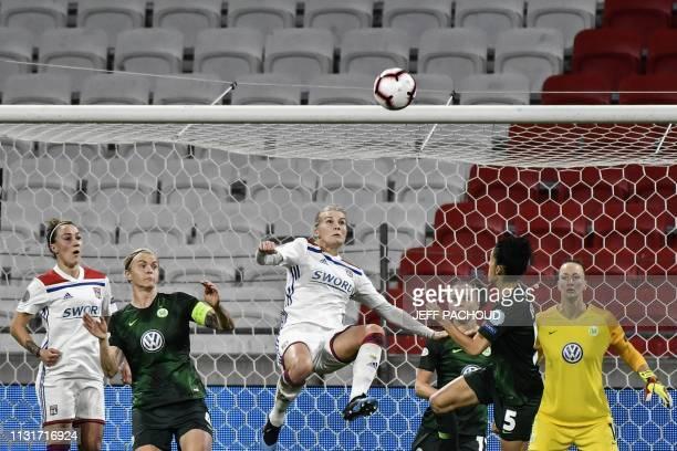 Lyon's Norwegian forward Ada Hegerberg tries to score during the UEFA women's Champions League quarterfinal football match between Olympique Lyonnais...