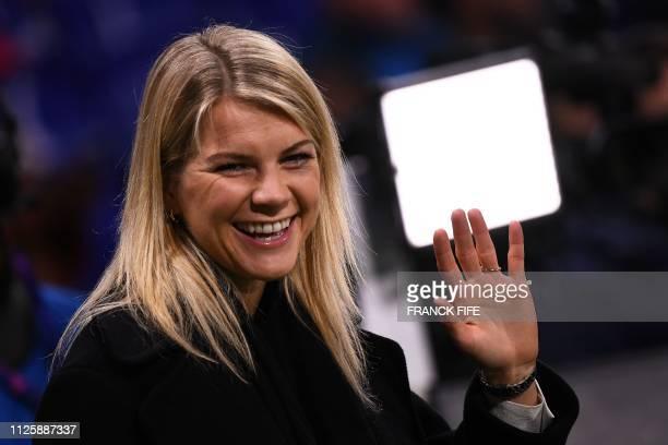 Lyon's Norwegian forward Ada Hegerberg winner of 2018 Women's Ballon d'Or award for best player of the year looks on prior to the UEFA Champions...