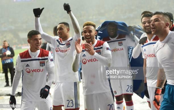 Lyon's players after during the UEFA Champions League Groupe F football match FC Shakhtar Donetsk and Olympique Lyonnais on NSK Olimpiyskyi stadium...