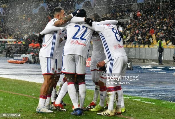 Lyon's players after the UEFA Champions League Groupe F football match FC Shakhtar Donetsk and Olympique Lyonnais on NSK Olimpiyskyi stadium in Kiev...