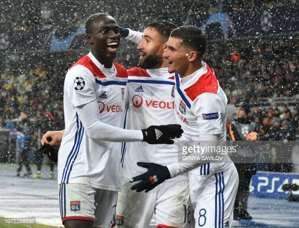 Lyon's players after the UEFA Champions League Groupe F football match FC Shakhtar Donetsk and Olympique Lyonnais on NSK Olimpiyskyi stadium in Kiev...