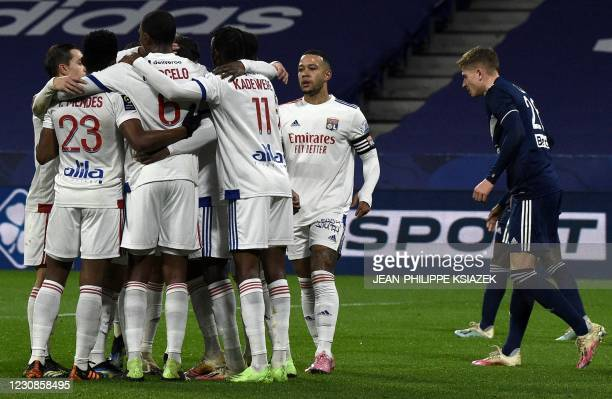 Lyon's players celebrates after scoring during the French L1 football match between Lyon and Girondins de Bordeaux , at the Groupama stadium in...