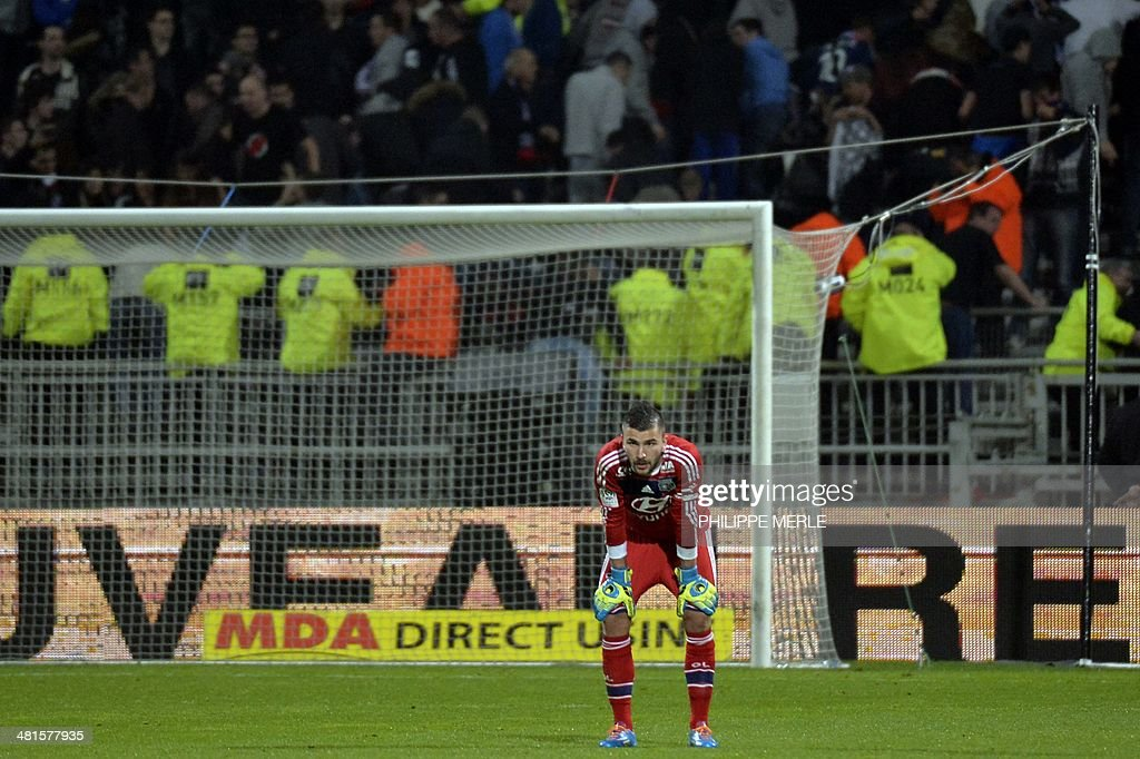 Lyon's Portuguese goalkeeper Anthony Lopes looks dejected following the French L1 football match Olympique Lyonnais (OL) vs Saint-Etienne (ASSE) at the Gerland stadium in Lyon, southeastern France, on March 30, 2014.