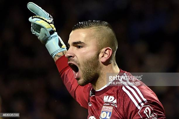 Lyon's Portuguese goalkeeper Anthony Lopes reacts after stopped a goal during the French L1 football match Olympique Lyonnais against Paris...