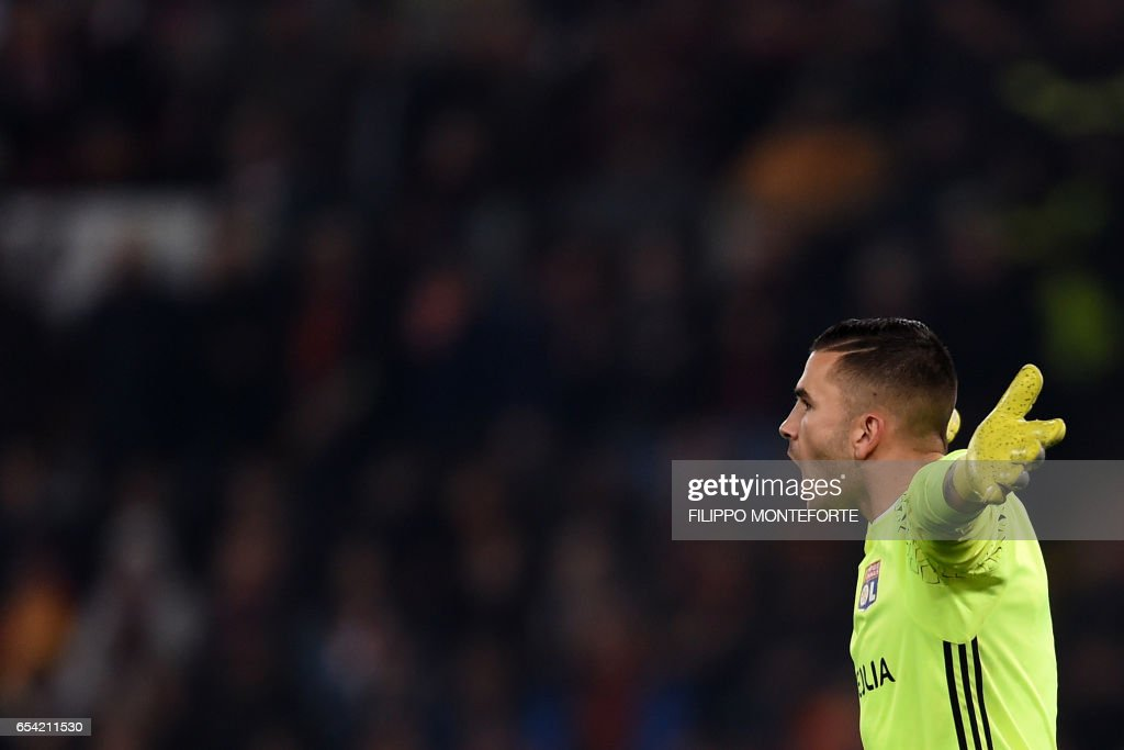 Lyon's Portuguese goalkeeper Anthony Lopes reacts during the qualifying UEFA Europa League match AS Roma versus Lyon at Rome's Olympic stadium, on March 16, 2017. /