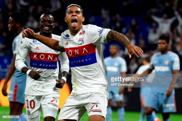 Lyon's Spanish forward Mariano Diaz celebrates after scoring a goal during the French L1 football match between Lyon and Monaco on October 13 2017 at...