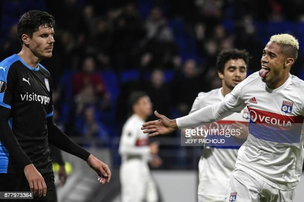 Lyon's Spanish forward Mariano Diaz celebrates after scoring a goal during the UEFA Europa League football match Olympique Lyonnais vs Apollon...
