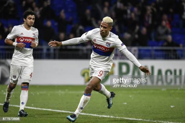 Lyon's Spanish forward Mariano Diaz celebrates after scoring a goal during the UEFA Europa League football match Olympique Lyonnais vs Apollon...