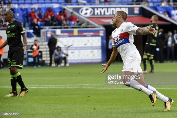 Lyon's Spanish forward Mariano Diaz celebrates after scoring during the French L1 football match Lyon vs Guingamp , on September 10, 2017 at the...