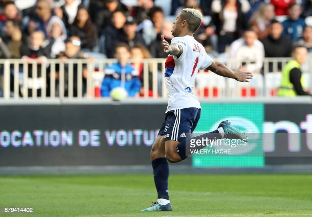Lyon's Spanish forward Mariano Diaz celebrates after scoring during the French L1 football match Nice vs Lyon at The 'Allianz Riviera' Stadium in...
