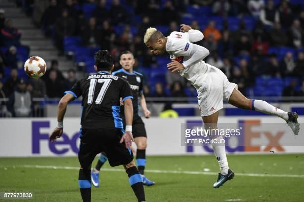 Lyon's Spanish forward Mariano Diaz scores a goal during the UEFA Europa League football match Olympique Lyonnais vs Apollon Limassol on November 23...
