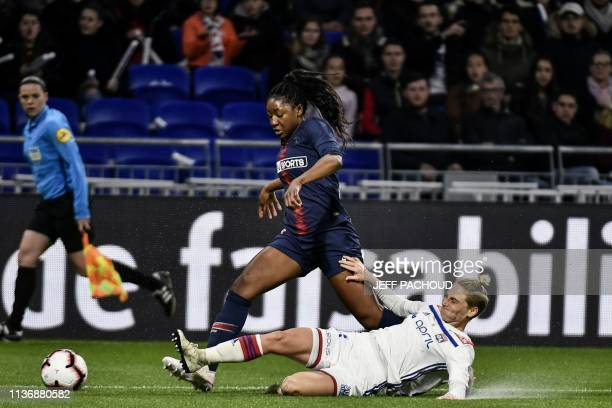 Lyon's Welsh midfielder Jessica Fishlock tackles Paris' French forward Kadidiatou Diani during the French women D1 football match between Olympique...