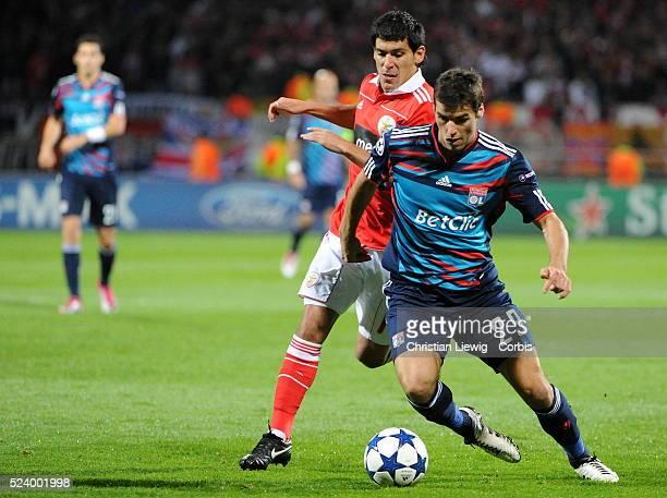 Lyon's Yoann Gourcuff duringthe UEFA champions League soccer matchGroup BOlympique Lyonnais vs Benfica at gerland stadium in LyonFrance CORBISCOM...