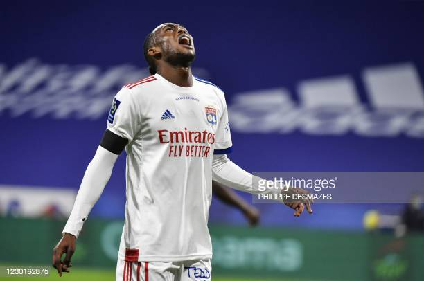 Lyon's Zimbabwean forward Tino Kadewere reacts during the French L1 football match between Olympique Lyonnais and Le Stade Brestois 29 at the...