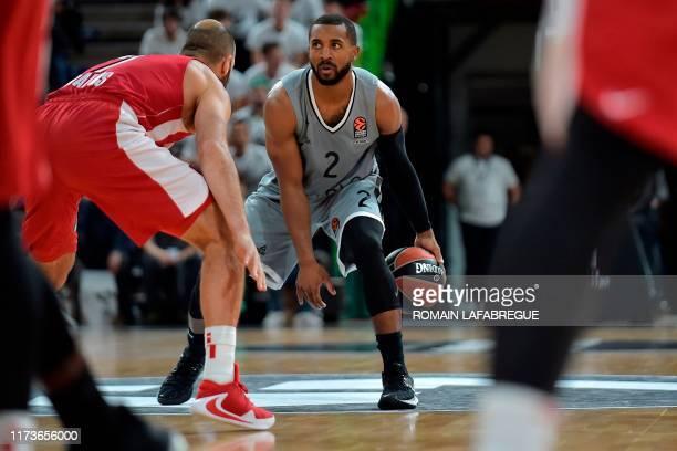 Lyon-Villeurbanne's US guard Jordan Taylor controls the ball during the Euroleague basketball match between LDLC ASVEL Lyon-Villeurbanne and...