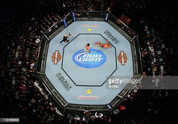 Lyoto Machida kicks Randy Couture to win by knockout in the second round of their Light Heavyweight bout at UFC 129 in the Rogers Centre on April 30...