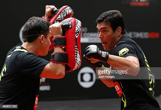 Lyoto Machida of Brazil holds an open training session for fans and media at Allianz Parque on December 18 2014 in Sao Paulo Brazil