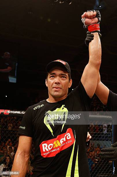 Lyoto Machida of Brazil of Brazil celebrates after his TKO victory over CB Dollaway of the United States in their middleweight fight during the UFC...