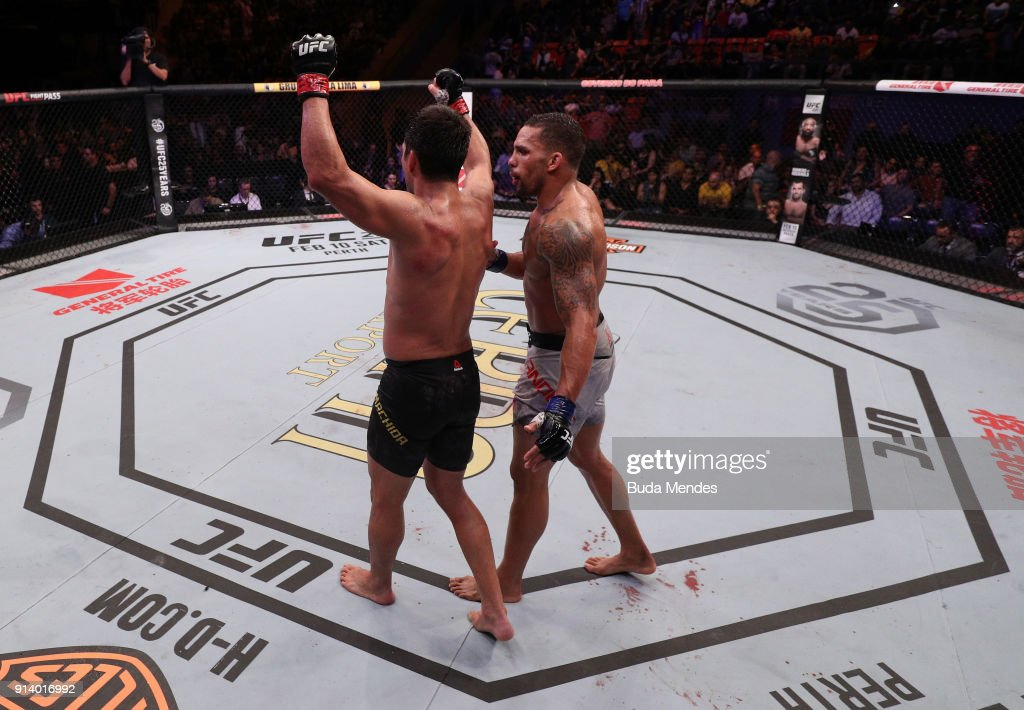 Lyoto Machida of Brazil raises his hands after facing Eryk Anders in their middleweight bout during the UFC Fight Night event at Mangueirinho Arena on February 03, 2018 in Belem, Brazil.