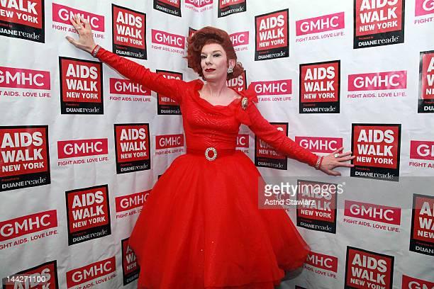 Lypsinka poses for photos during A SINsational Make Up Extravaganza Benefitting AIDS Walk New York at Splash Bar on May 13, 2012 in New York City.