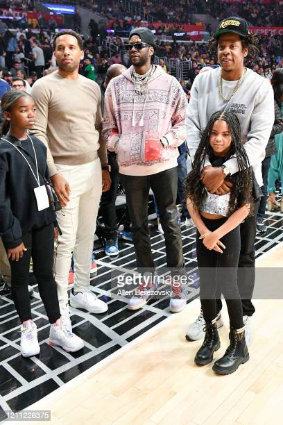 Lyra Carter, Maverick Carter, 2 Chainz, Jay-Z and Blue Ivy Carter attend a basketball game between the Los Angeles Clippers and the Los Angeles...