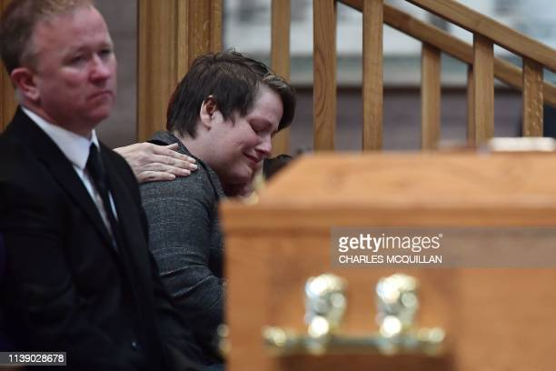 Lyra McKee's partner Sara Canning reacts during the funeral of journalist Lyra McKee who was killed by a dissident republican paramilitary in...