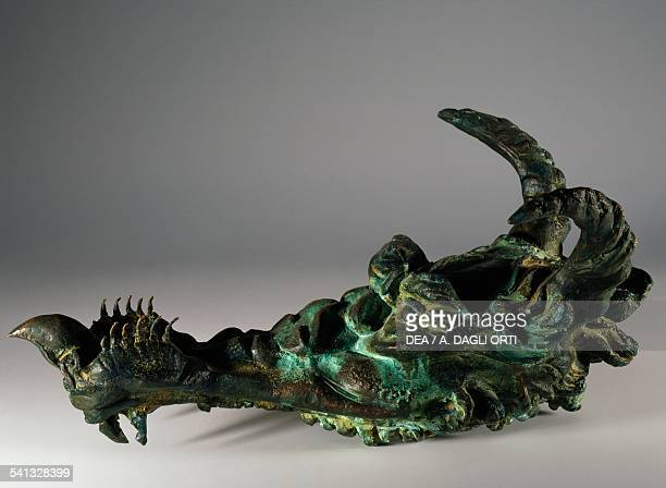 Lyre in the shape of fantastic animal musical instrument invented by Leonardo da Vinci reconstruction in bronze from the Ashburnham manuscript 2037...