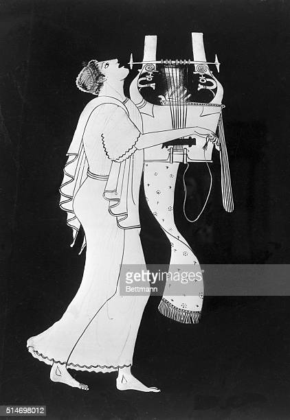 Lyre player Amphora by the Berlin painter red figured Attic early 5th Century BC A young citheroedus singing to his own accompaniment