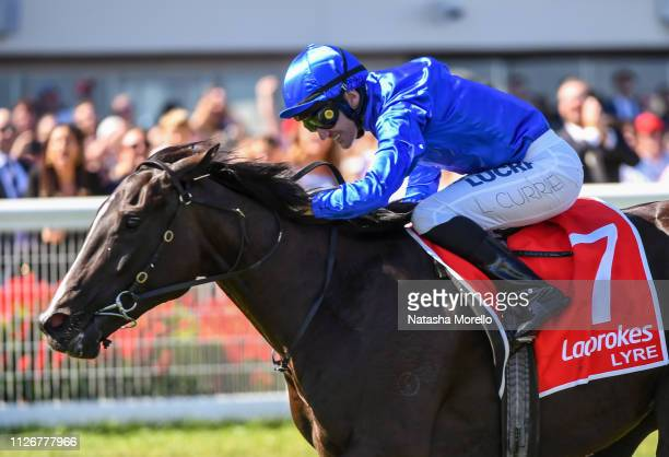 Lyre ridden by Luke Currie wins the Ladbrokes Blue Diamond Stakes at Caulfield Racecourse on February 23 2019 in Caulfield Australia