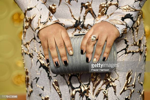 Lyric Ross ring purse manicure and fashion detail attends the 71st Emmy Awards at Microsoft Theater on September 22 2019 in Los Angeles California