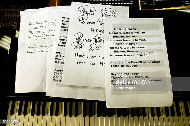 Lyric sheets for the recording of the charity cover of Eric Clapton's Tears In Heaven Tsunami Relief Single at Whitfield Studios on January 20 2005...